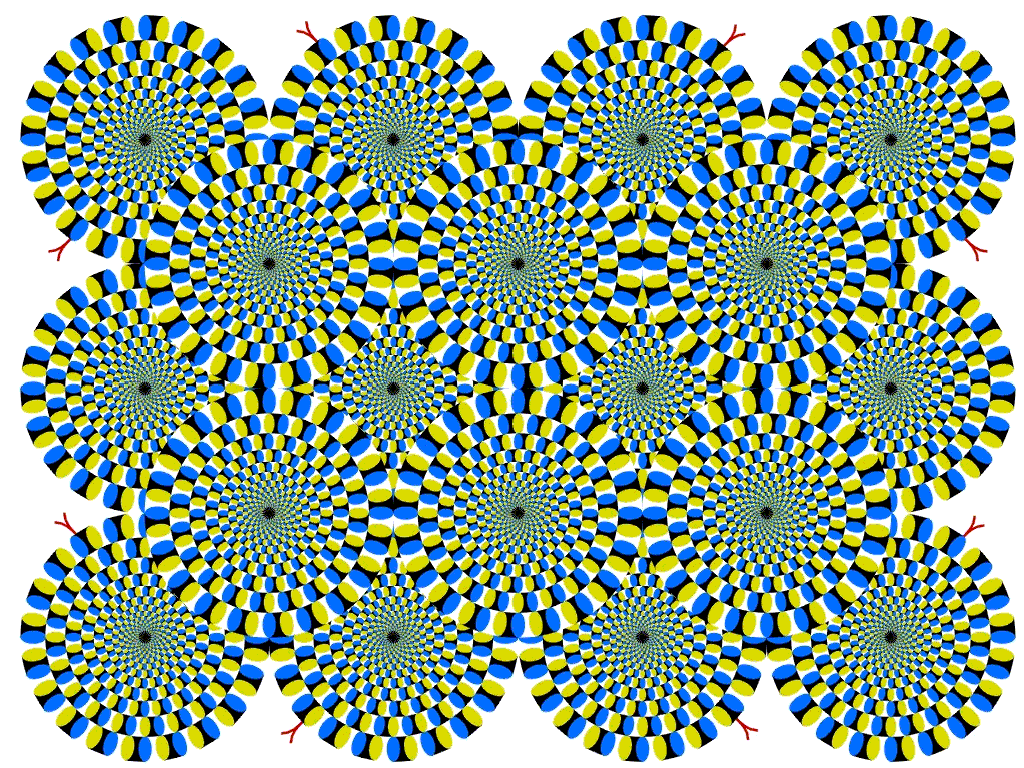 My two favourite static optical illusions. The first one just makes my